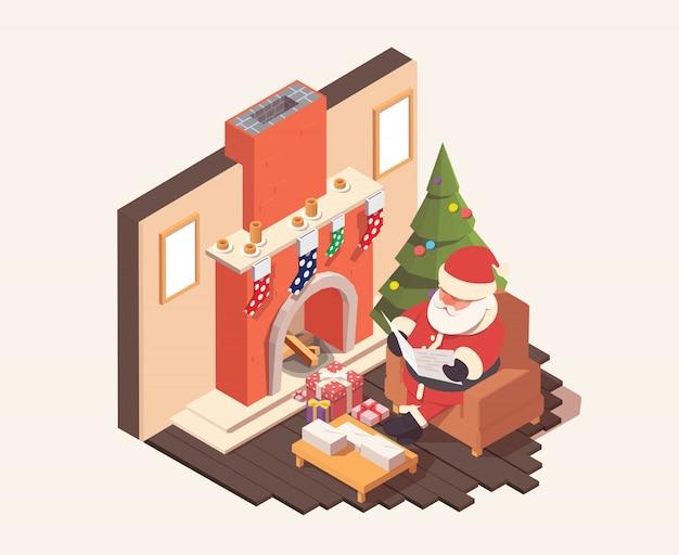 Santa claus-zitting dichtbij open haard en leest de brieven van kinderen.