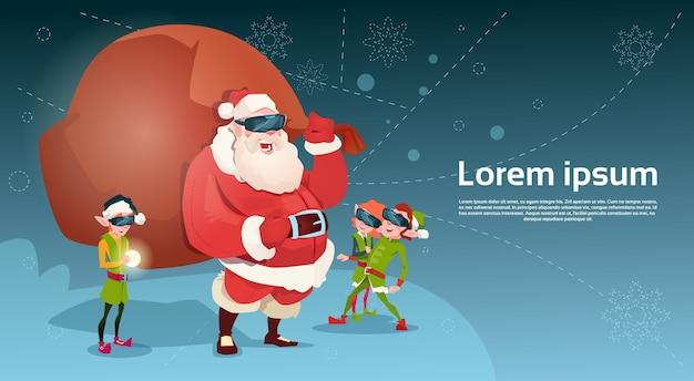 Santa clause en green elf group dragen digitale bril