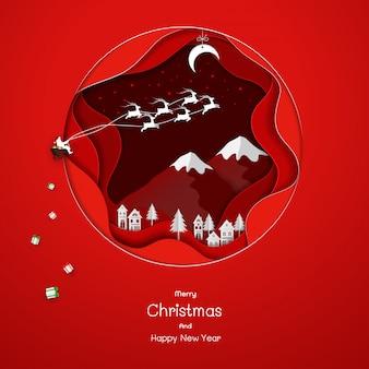 Santa clause komt naar het platteland op rode papier kunst achtergrond