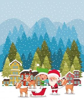 Santa clous en helper met slee