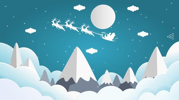 Santa cross zit op een sneeuwscooter