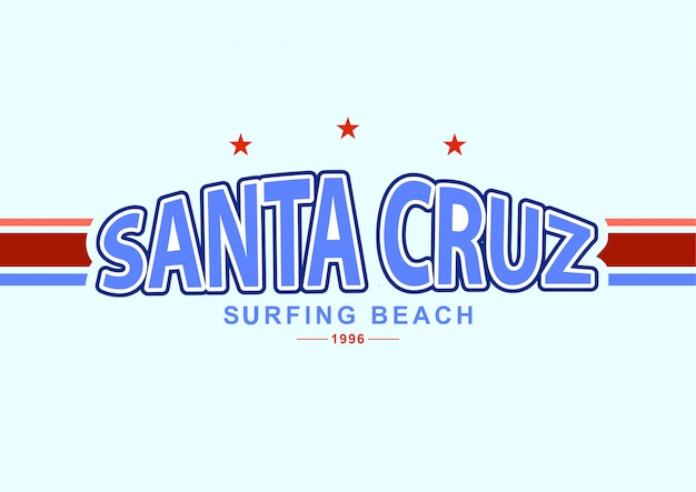 Santa cruz-surfstrand in universiteitsstijl.