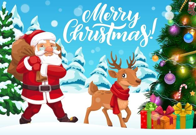 Santa draagtas met kerstcadeaus in wintervakantie bosontwerp. kerstboom, kerstman en rendier, huidige dozen, sneeuw en sok, sneeuwvlokken, ballen en lichten, linten, strikken en klatergoud