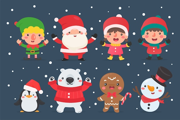 Santa elf sneeuwman en kinderen karakters die wintermaskers en maskers dragen voor kerstmis.