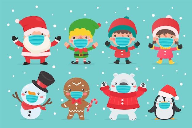 Santa elf sneeuwman en kinderen karakters dragen wintermaskers en maskers voor kerstmis.