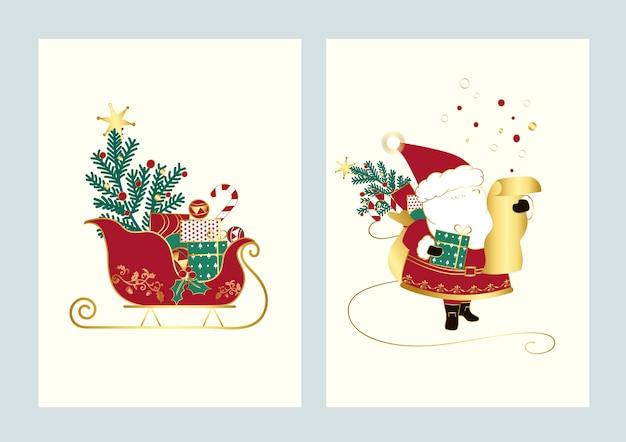 Santa en zijn slee kerstkaart vector