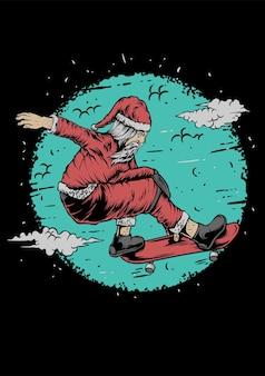 Santa extreme skate illustratie vector kleding ontwerp vrolijk kerstfeest
