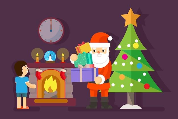 Santa geeft geschenken aan kleine jongen bij kerstboom. aanwezig voor kind, vakantieviering, vectorillustratie