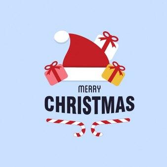 Santa hat met kerstcadeau decoratie kalligrafische en typografisch ontwerp