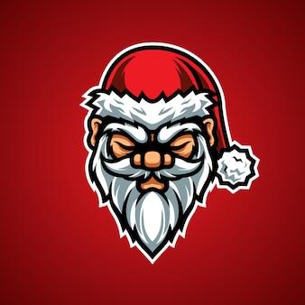 Santa head e sports mascot logo