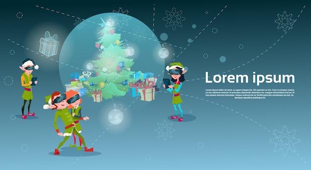 Santa helper elf group wear digital glasses