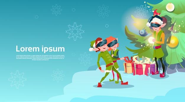 Santa helper green elf group wear digital glasses
