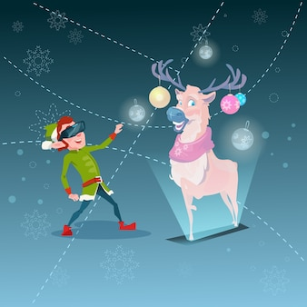 Santa helper green elf wear digital glasses