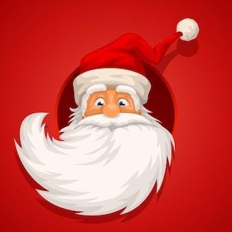 Santa hoofd op rood