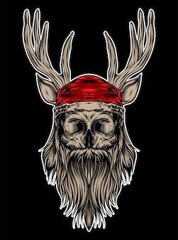 Santa hosrn schedel illustratie vector kleding ontwerp kleding, ontwerp sticker
