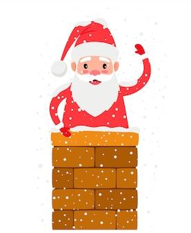 Santa in schoorsteen