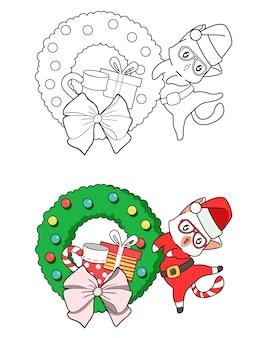 Santa kat cartoon kleurplaat voor kinderen