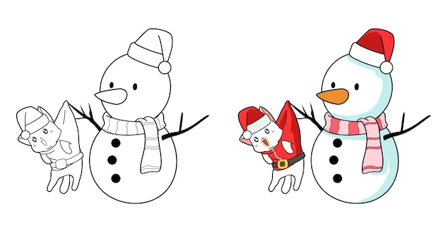 Santa kat en sneeuwpop cartoon kleurplaat voor kinderen
