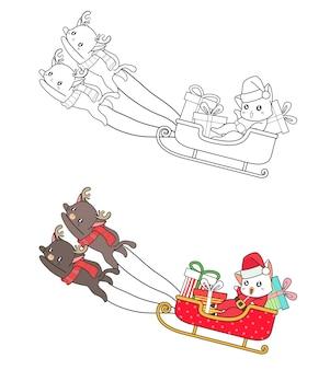 Santa kat in een slee cartoon kleurplaat voor kinderen