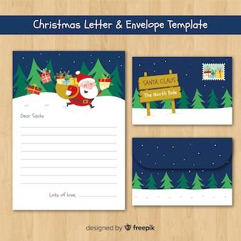 Santa kerst envelop sjabloon uitgevoerd
