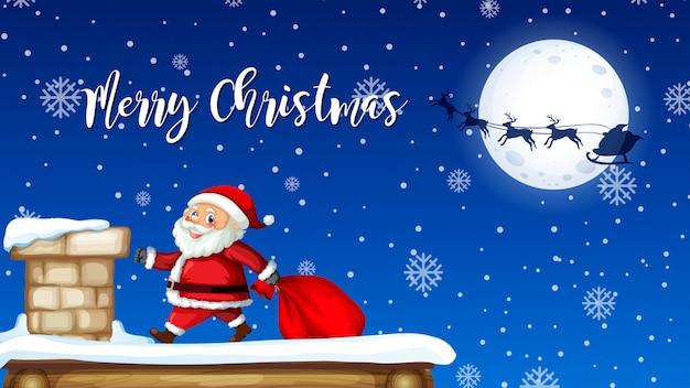 Santa levering geschenk van schoorsteen