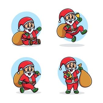 Santa mascotte cartoon ingesteld sjabloon
