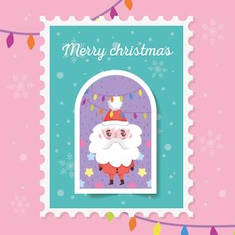 Santa met lichten stempel