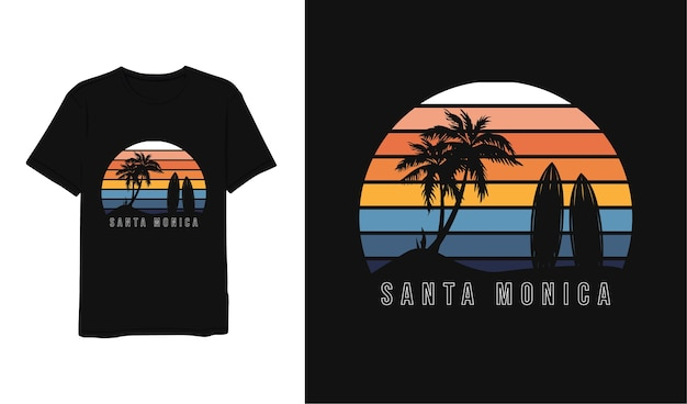 Santa monica, blauw geeloranje wit minimalistisch t-shirtontwerp