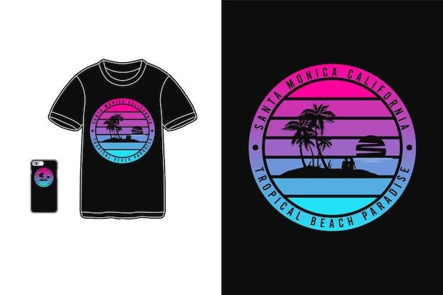 Santa monica californië, t-shirt merchandise silhouet stijl