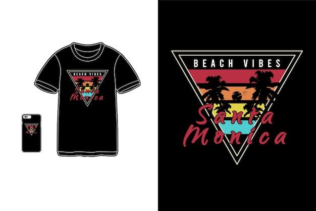 Santa monica, t-shirt merchandise siluet mockup typografie
