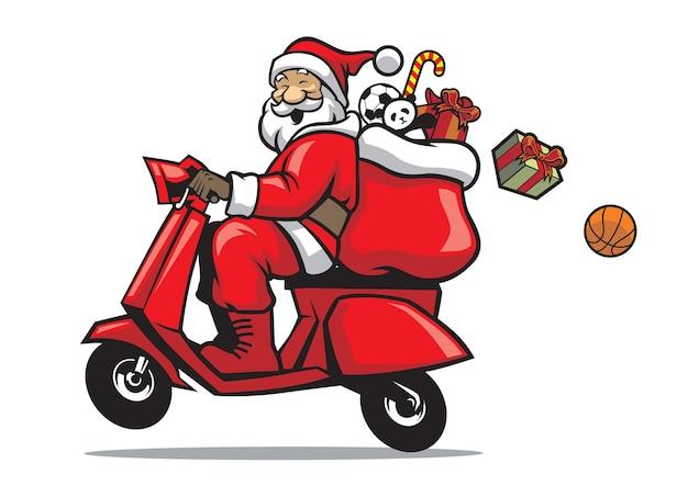 Santa rijdt op een scooter