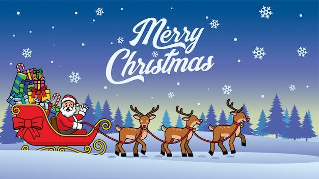 Santa rijdt sneeuw slee