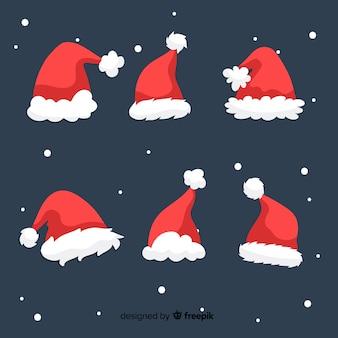 Santa's hoedencollectie in plat design