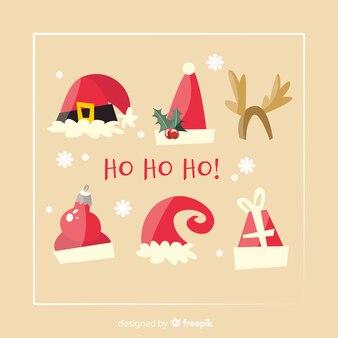 Santa's hoedencollectie in plat ontwerp
