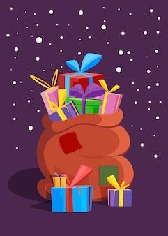 Santa's tas met geschenken, kerstkaart