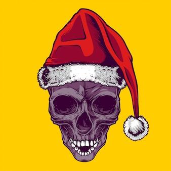 Santa schedel illustratie en t-shirt ontwerp