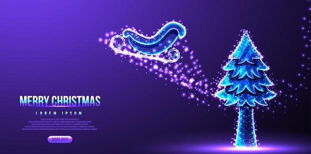 Santa slee, pijnbomen, vrolijke kerst bestemmingspagina, laag poly draadframe, vectorillustratie