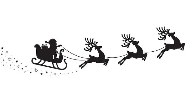 Santa slee silhouet sterren witte achtergrond