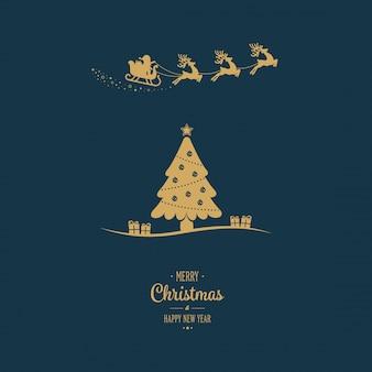 Santa slee vliegende gouden kerstboom groet