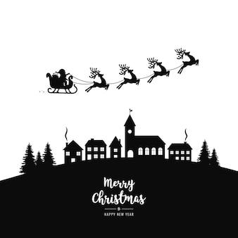 Santa slee vliegende silhouet dorp nacht