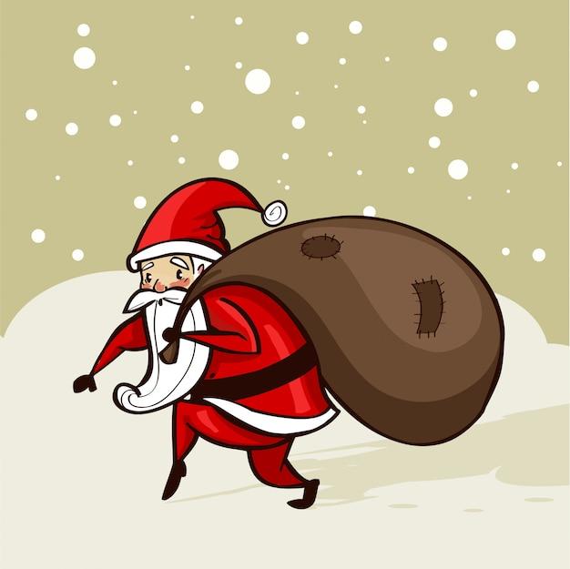 Santa sluipen in de sneeuw