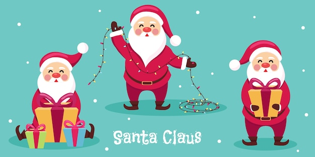 Santa stripfiguur met cadeautjes