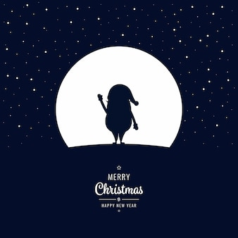 Santa swave into the winter christmas night