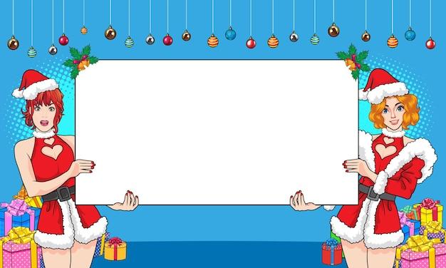 Santa vrouw die lege ruimte toont vrouwengebaar die iets presenteert achtergrond popart strips stijl