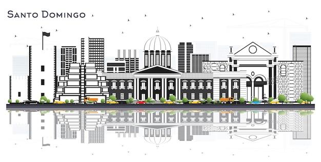 Santo domingo dominicaanse republiek city skyline met grijze gebouwen en reflecties geïsoleerd op wit