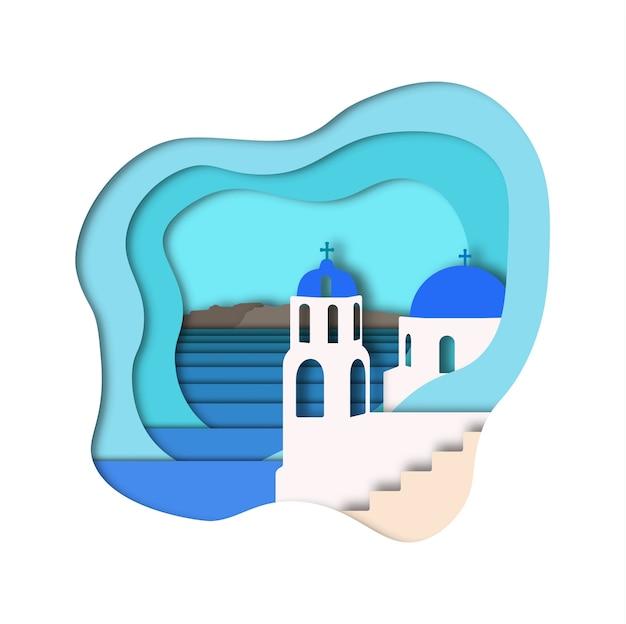 Santorini papier kunststijl