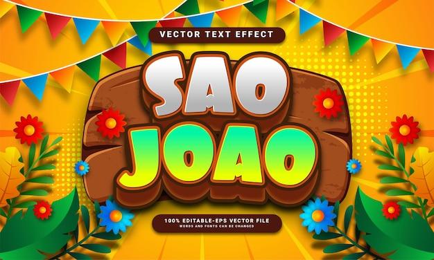 Sao joao 3d bewerkbaar teksteffect geschikt voor festa junina-festivals