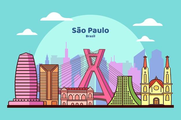 Sao paulo oriëntatiepunt onder de blauwe hemel