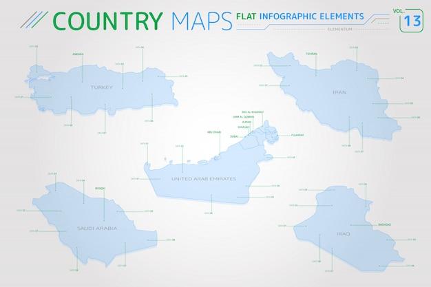 Saoedi-arabië, irak, iran, verenigde arabische emiraten en turkije vectorkaarten