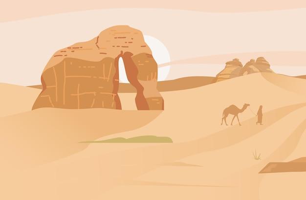 Saoedi-arabië woestijnlandschap met olifantenrots hegra oude dorpszandrotsen